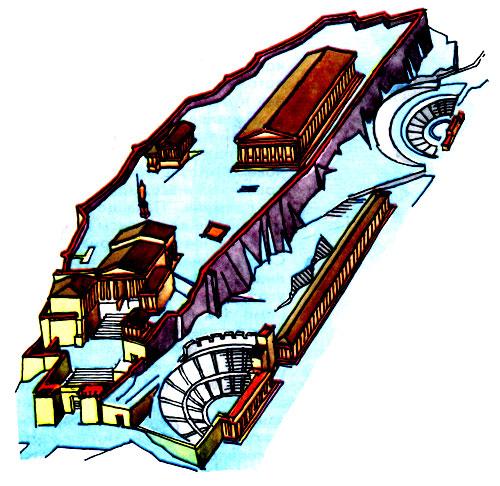 Афинский Акрополь.  Схема реконструкции.