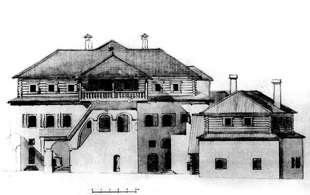 Дом Печенко. Дворовый фасад. Реконструкция Ю. П. Спегальского